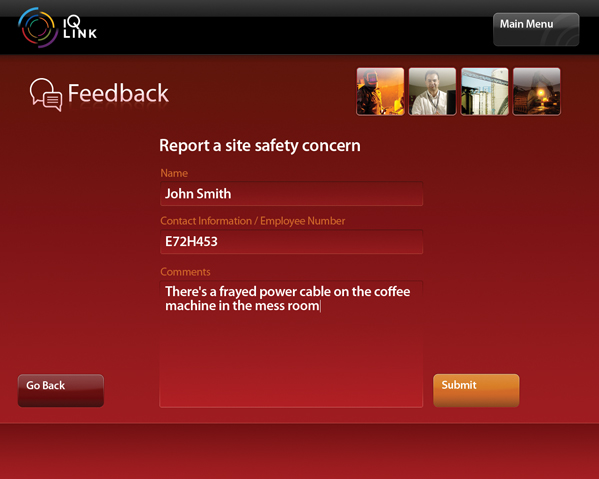 A screenshot of the IQ LINK Feedback module